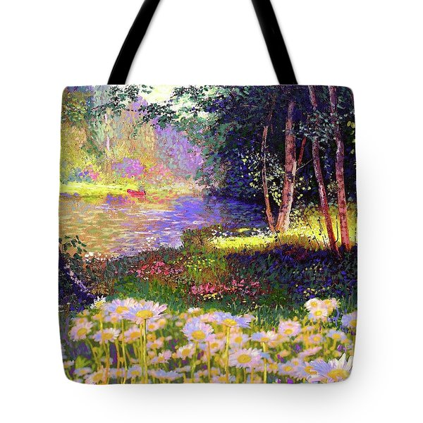 Enchanted By Daisies, Modern Impressionism, Wildflowers, Silver Birch, Aspen Tote Bag by Jane Small