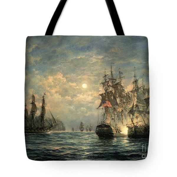 Engagement Between The 'bonhomme Richard' And The ' Serapis' Off Flamborough Head Tote Bag by Richard Willis