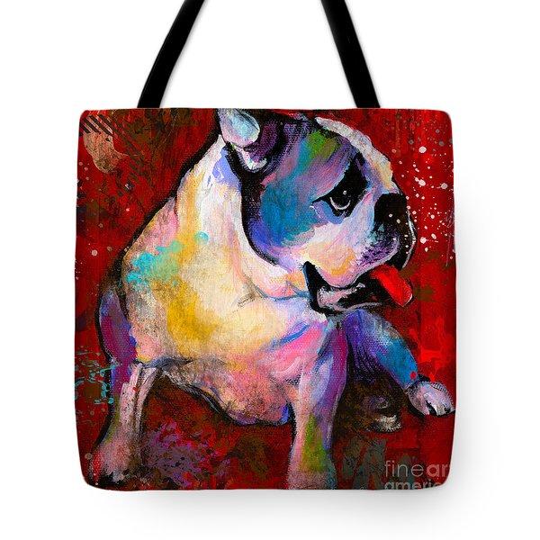 English American Pop Art Bulldog Print Painting Tote Bag by Svetlana Novikova