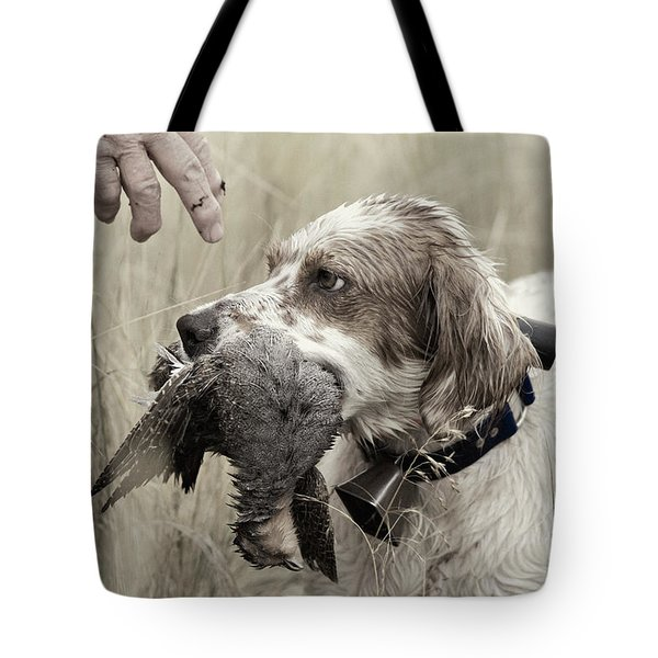 English Setter and Hungarian Partridge - D003092a Tote Bag by Daniel Dempster