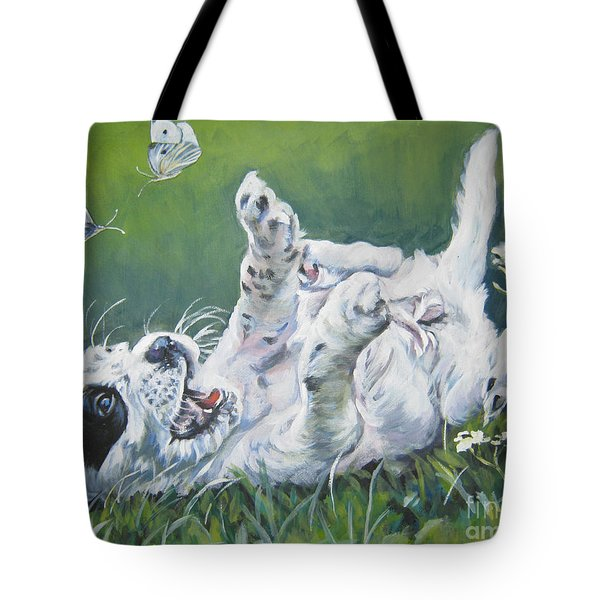 English Setter Puppy And Butterflies Tote Bag by Lee Ann Shepard