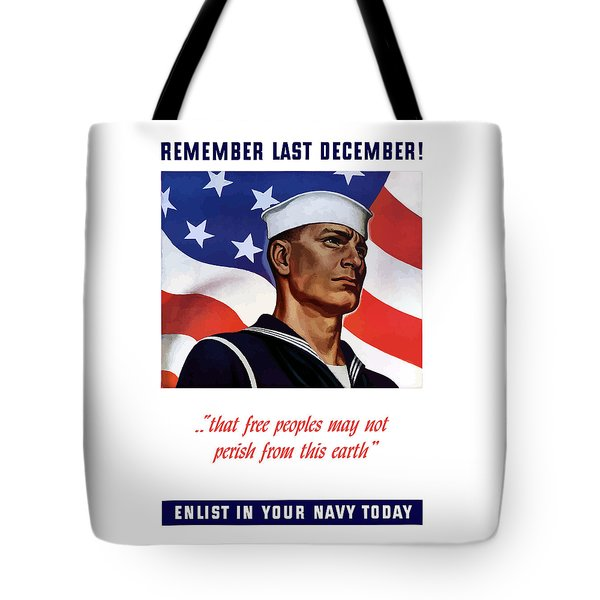 Enlist In Your Navy Today Tote Bag by War Is Hell Store