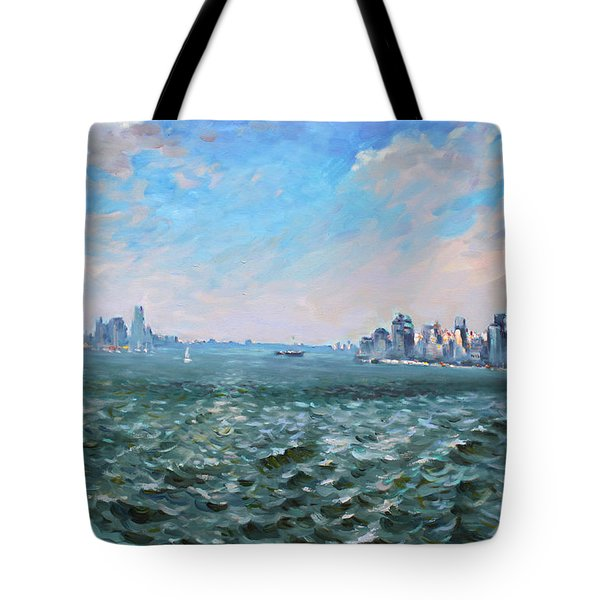 Entering In New York Harbor Tote Bag by Ylli Haruni