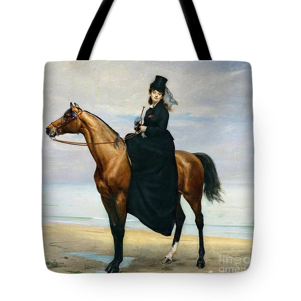 Equestrian Portrait Of Mademoiselle Croizette Tote Bag by Charles Emile Auguste Carolus Duran