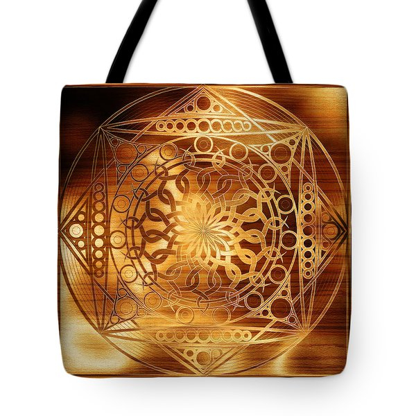 Eternity Mandala Golden Zebrawood Tote Bag by Hakon Soreide
