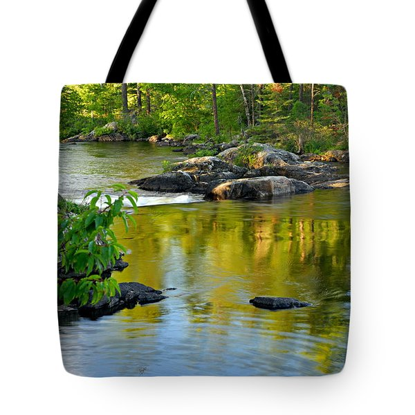 Evening Reflections At Lower Basswood Falls Tote Bag by Larry Ricker