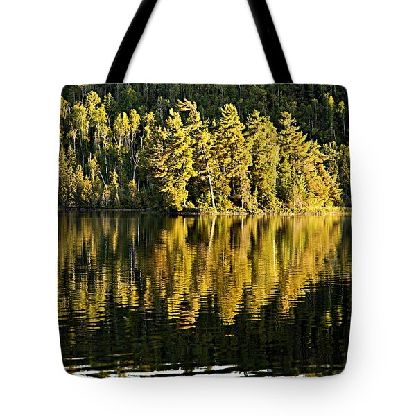 Evening Reflections On Alder Lake Tote Bag by Larry Ricker