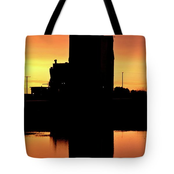 Eyebrow gain elevator reflected off water after sunset Tote Bag by Mark Duffy