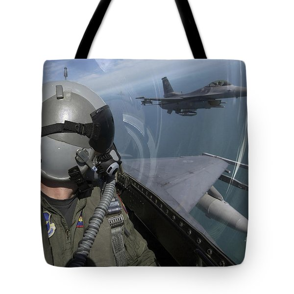 F-16 Fighting Falcons Flying Tote Bag by Stocktrek Images