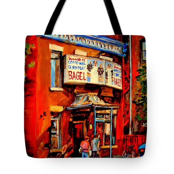 Fairmount Bagel Montreal Tote Bag by Carole Spandau
