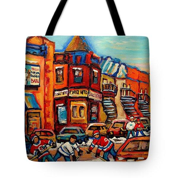 FAIRMOUNT BAGEL WITH HOCKEY Tote Bag by CAROLE SPANDAU