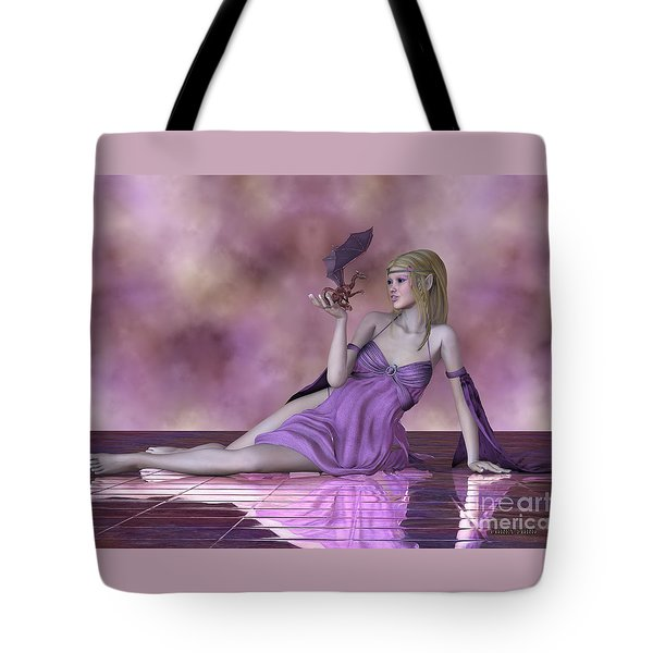 Fairy And Tiny Dragon Tote Bag by Corey Ford