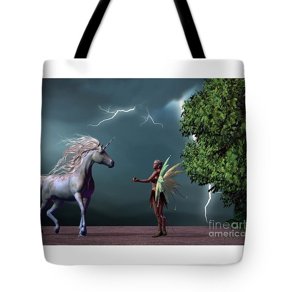 Fairy And Unicorn Tote Bag by Corey Ford