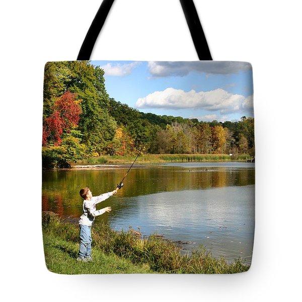 Fall Fishing Tote Bag by Kristin Elmquist