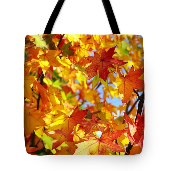 Fall Leaves Background Tote Bag by Carlos Caetano