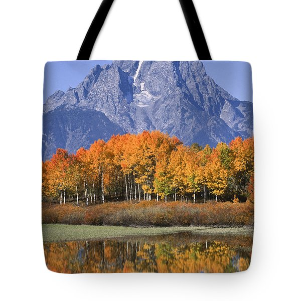 Fall Reflection At Oxbow Bend Tote Bag by Sandra Bronstein