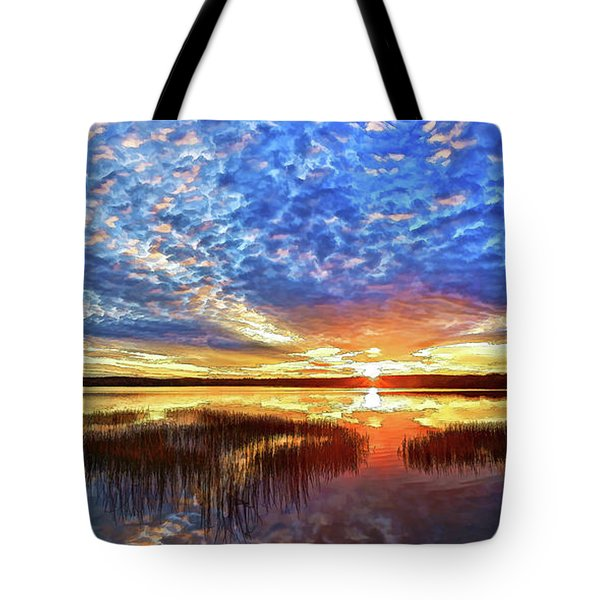 Fall Sunset At Round Lake Panorama Tote Bag by Bill Caldwell -        ABeautifulSky Photography