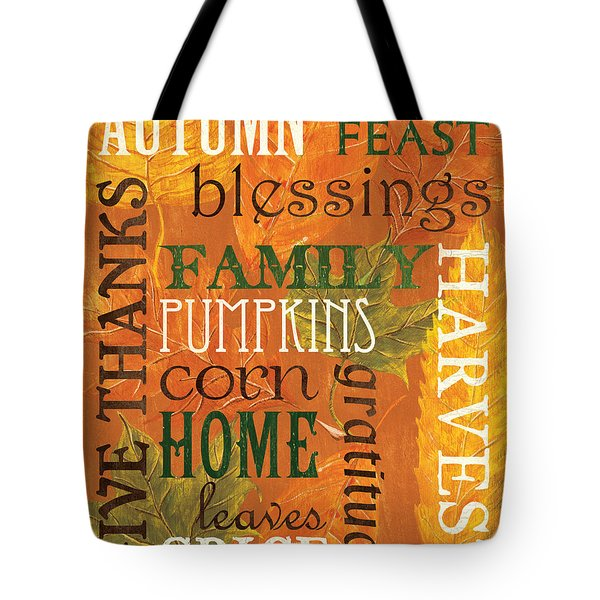 Fall Typography 1 Tote Bag by Debbie DeWitt