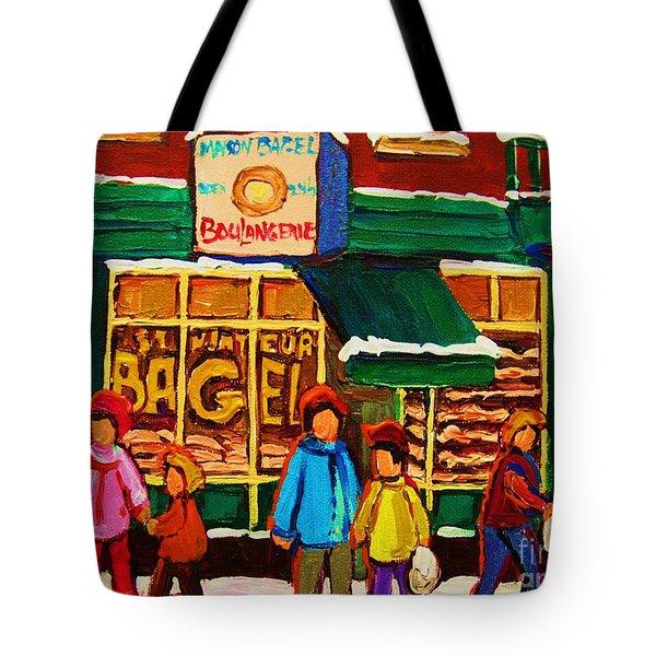 Family  Fun At St. Viateur Bagel Tote Bag by Carole Spandau