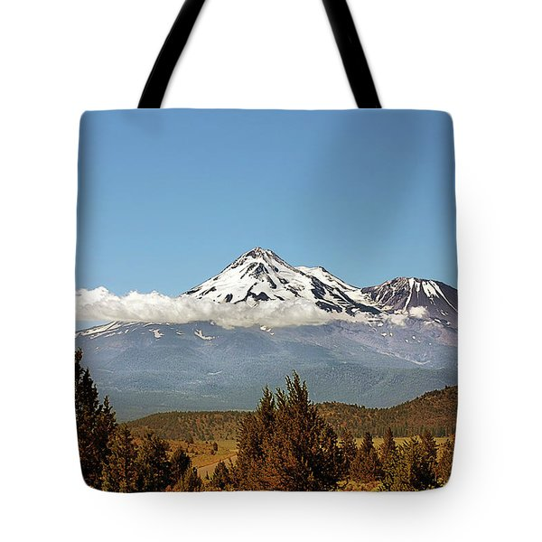 Family Portrait - Mount Shasta and Shastina Northern California Tote Bag by Christine Till
