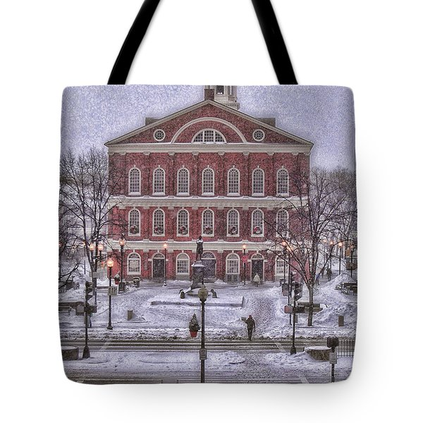 Faneuil Hall Snow Tote Bag by Joann Vitali