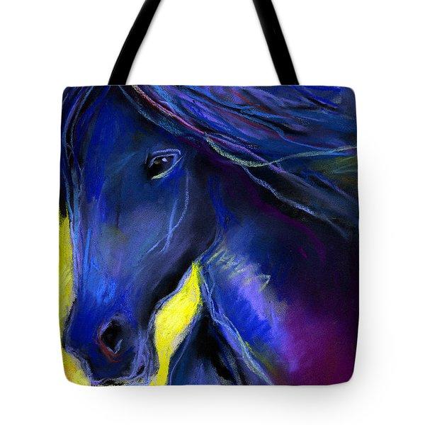 Fantasy Friesian Horse Painting Print Tote Bag by Svetlana Novikova