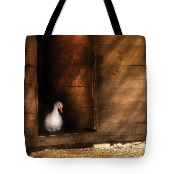 Farm - Duck - Welcome To My Home  Tote Bag by Mike Savad