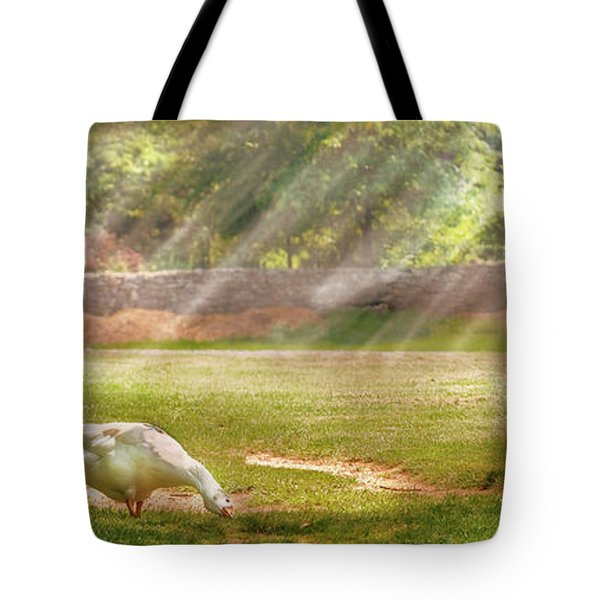 Farm - Geese -  Birds Of A Feather - Panorama Tote Bag by Mike Savad
