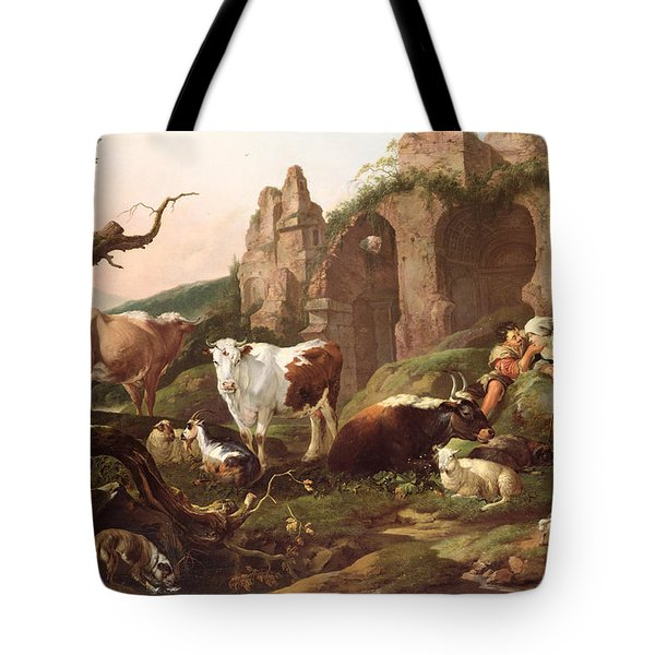 Farm Animals In A Landscape Tote Bag by Johann Heinrich Roos
