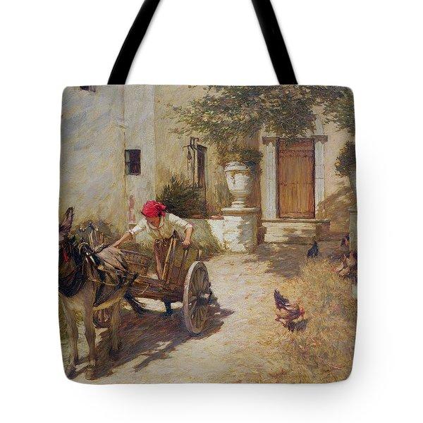 Farm Yard Scene Tote Bag by Henry Herbert La Thangue