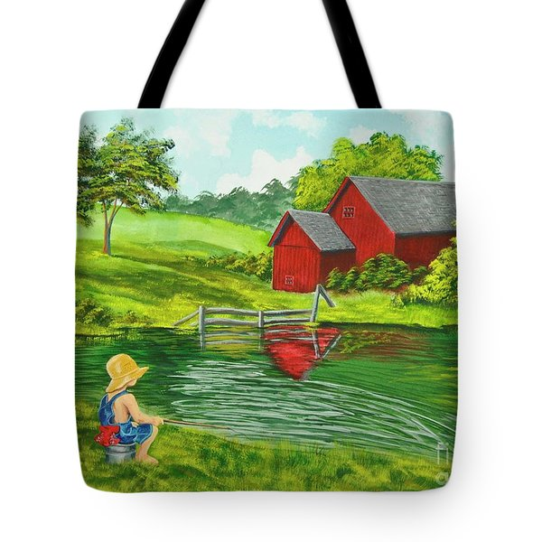 Favorite Fishing Hole Tote Bag by Charlotte Blanchard