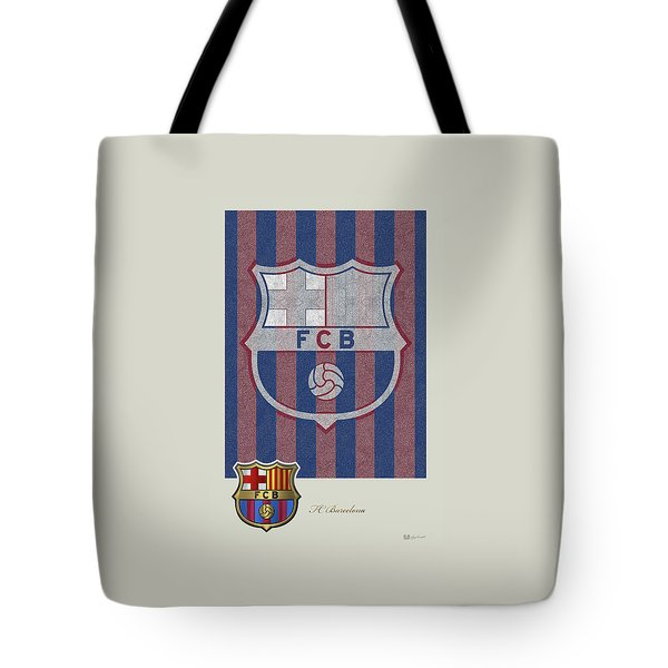 Fc Barcelona Logo And 3d Badge Tote Bag by Serge Averbukh