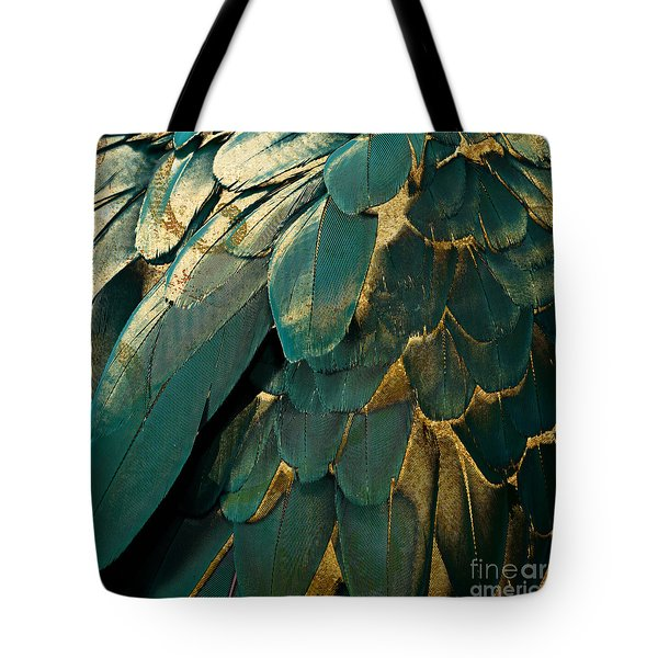 Feather Glitter Teal And Gold Tote Bag by Mindy Sommers