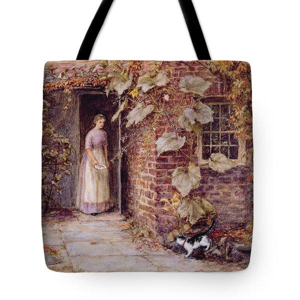 Feeding The Kitten Tote Bag by Helen Allingham