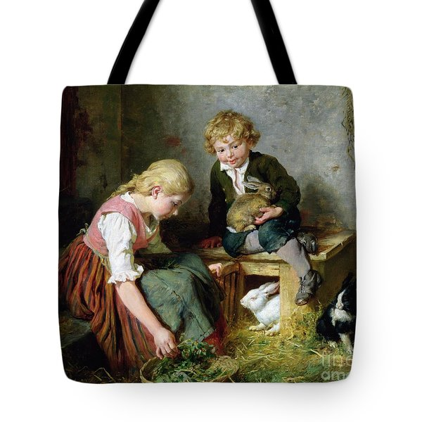 Feeding The Rabbits Tote Bag by Felix Schlesinger