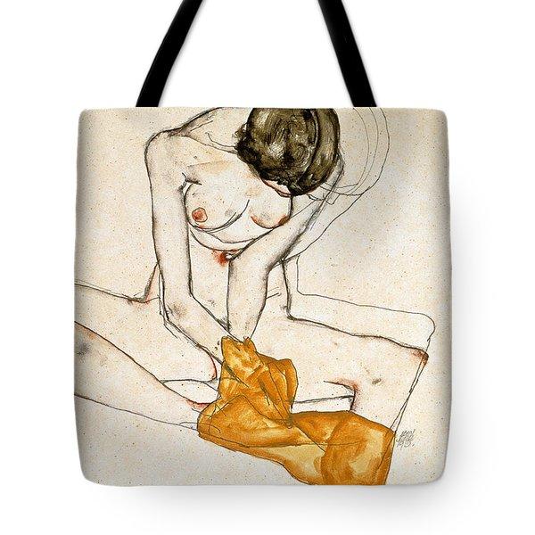 Female Nude Tote Bag by Egon Schiele