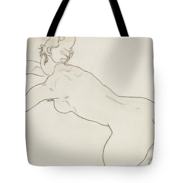 Female Nude Kneeling And Bending Forward To The Left Tote Bag by Egon Schiele