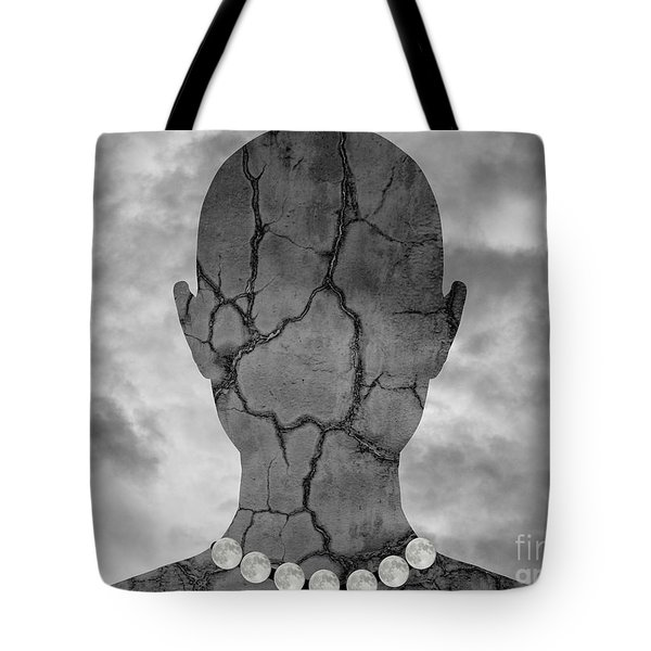 Feminine Figure With Moon Necklace Tote Bag by Dave Gordon