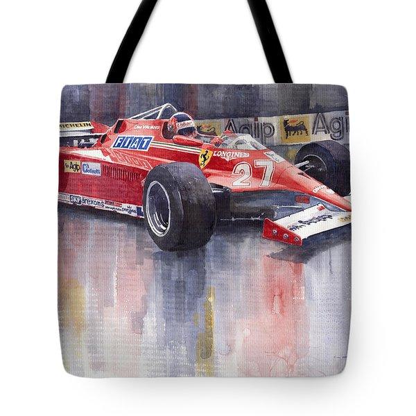 Ferrari 126c 1981 Monte Carlo Gp Gilles Villeneuve Tote Bag by Yuriy  Shevchuk