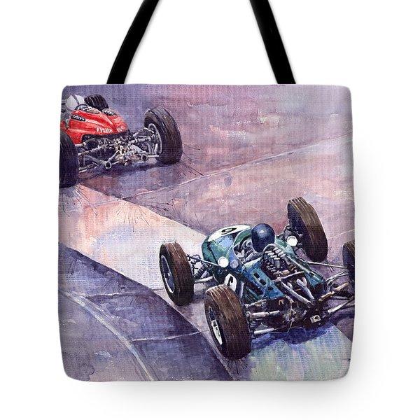 Ferrari 158 vs Brabham Climax German GP 1964 Tote Bag by Yuriy  Shevchuk
