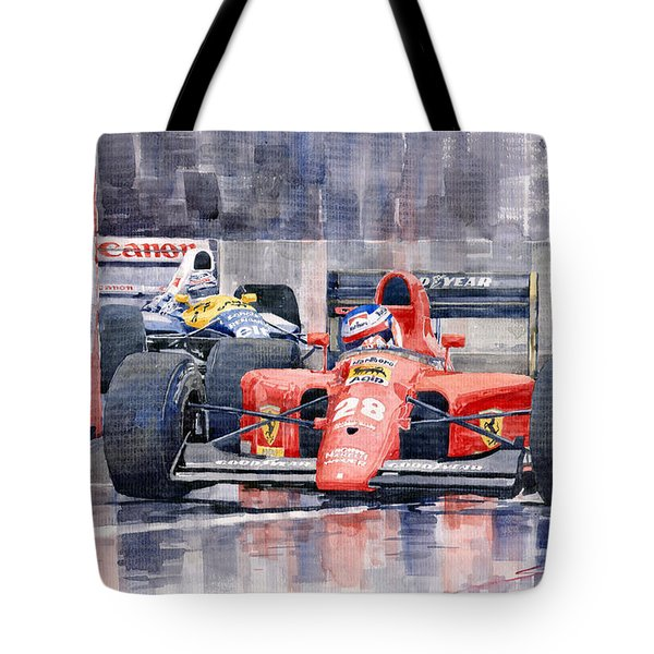 Ferrari F1 Jean Alesi Phoenix Us Gp Arizona 1991 Tote Bag by Yuriy  Shevchuk
