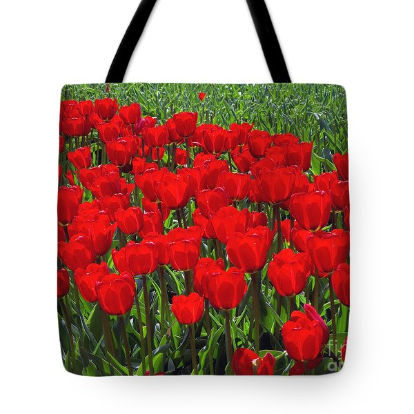 Field of Red Tulips Tote Bag by Sharon  Talson