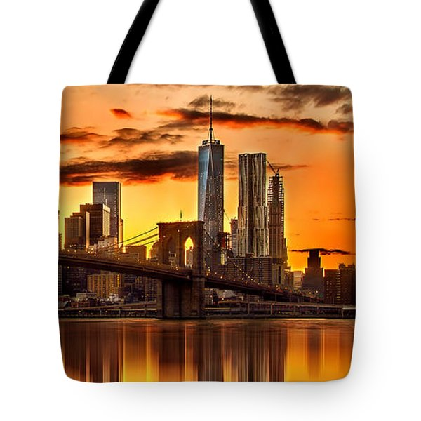 Fiery Sunset Over Manhattan  Tote Bag by Az Jackson