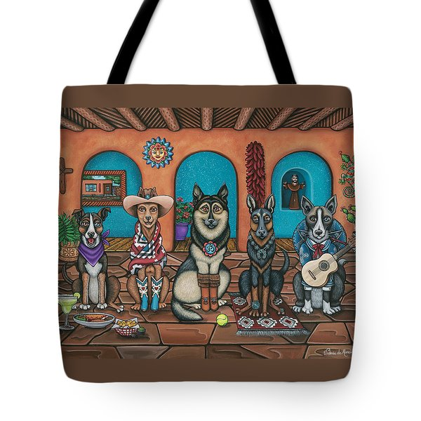 Fiesta Dogs Tote Bag by Victoria De Almeida
