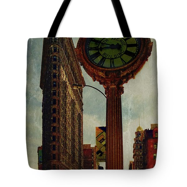 Fifth Avenue Clock And The Flatiron Building Tote Bag by Chris Lord