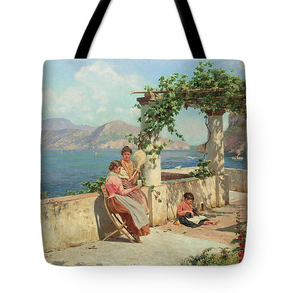Figures On A Terrace In Capri  Tote Bag by Robert Alott