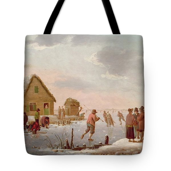 Figures Skating In A Winter Landscape Tote Bag by Hendrik Willem Schweickardt