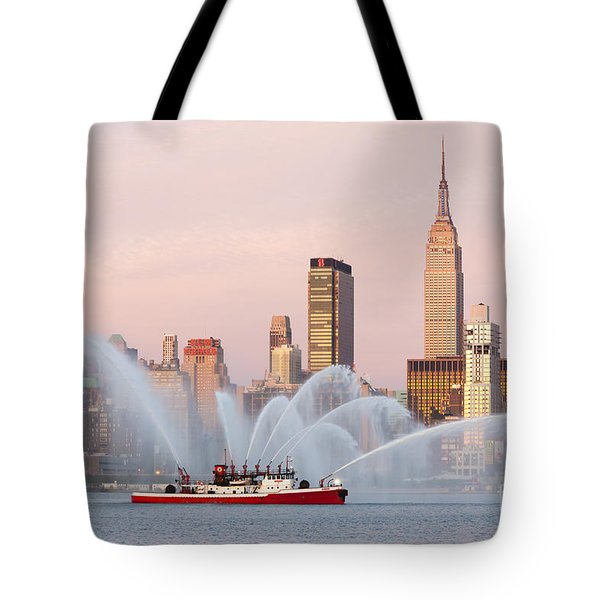 Fire Boat and Manhattan Skyline I Tote Bag by Clarence Holmes