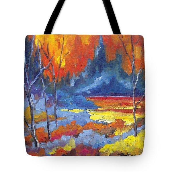Fire Lake Tote Bag by Richard T Pranke