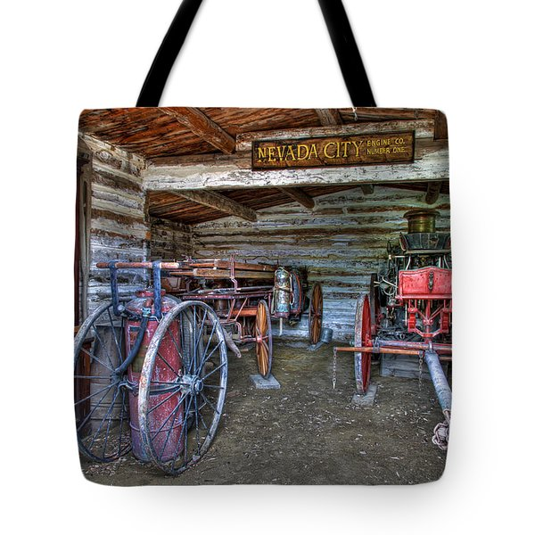 FIREFIGHTING ENGINE COMPANY NO. 1 - NEVADA CITY MONTANA GHOST TOWN Tote Bag by Daniel Hagerman